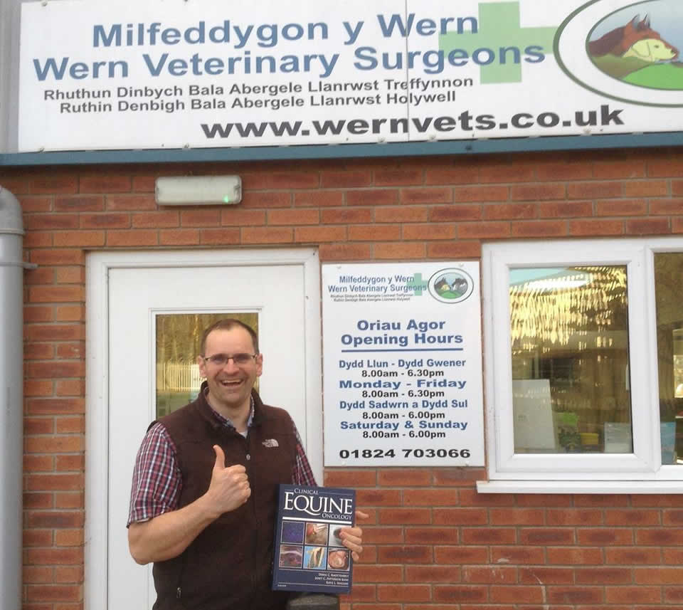 We have received this photo of a very happy Dyfrig Williams from Wern Vets with his winning copy of Prof Knottenbelt's oncology book. Enjoy Dyfrig!